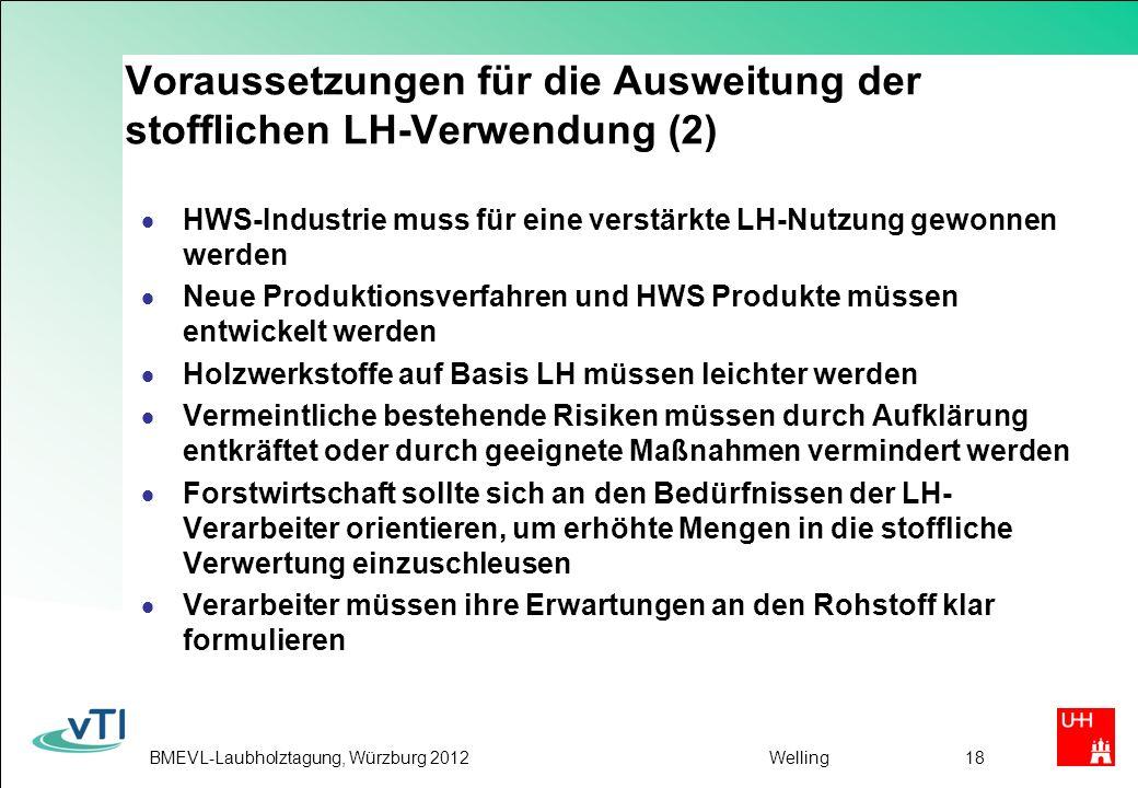 Voraussetzungen für die Ausweitung der stofflichen LH-Verwendung (2)