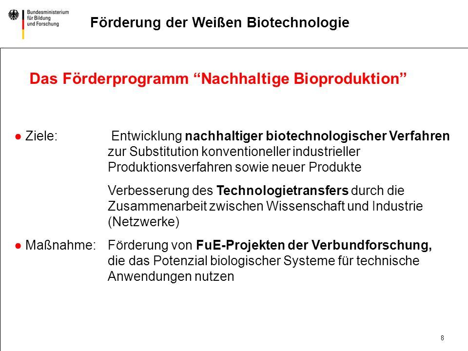 Das Förderprogramm Nachhaltige Bioproduktion