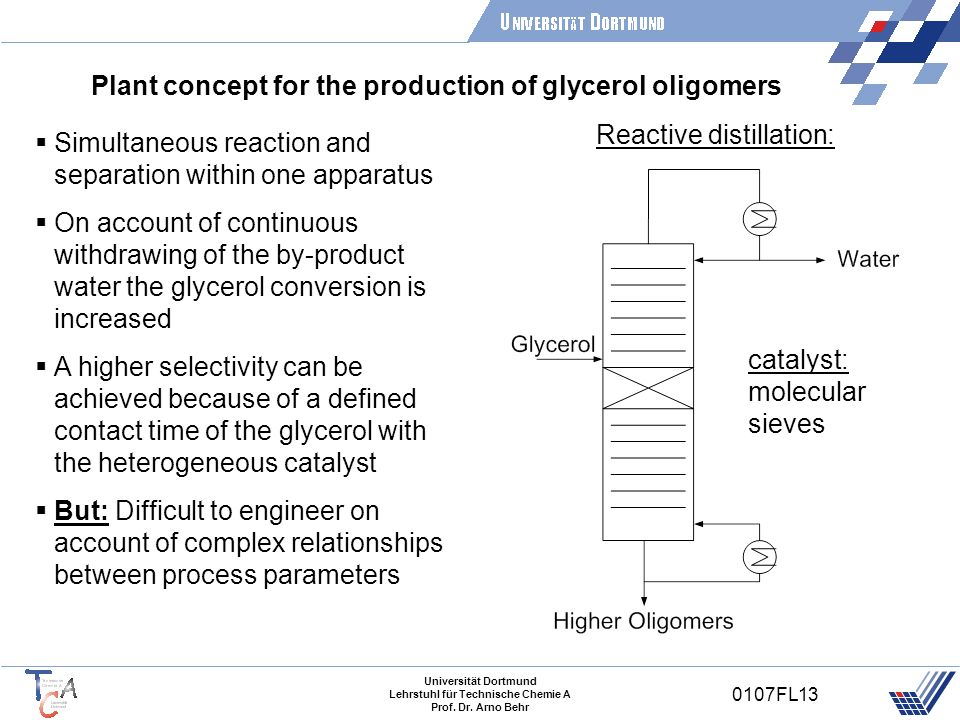 Plant concept for the production of glycerol oligomers