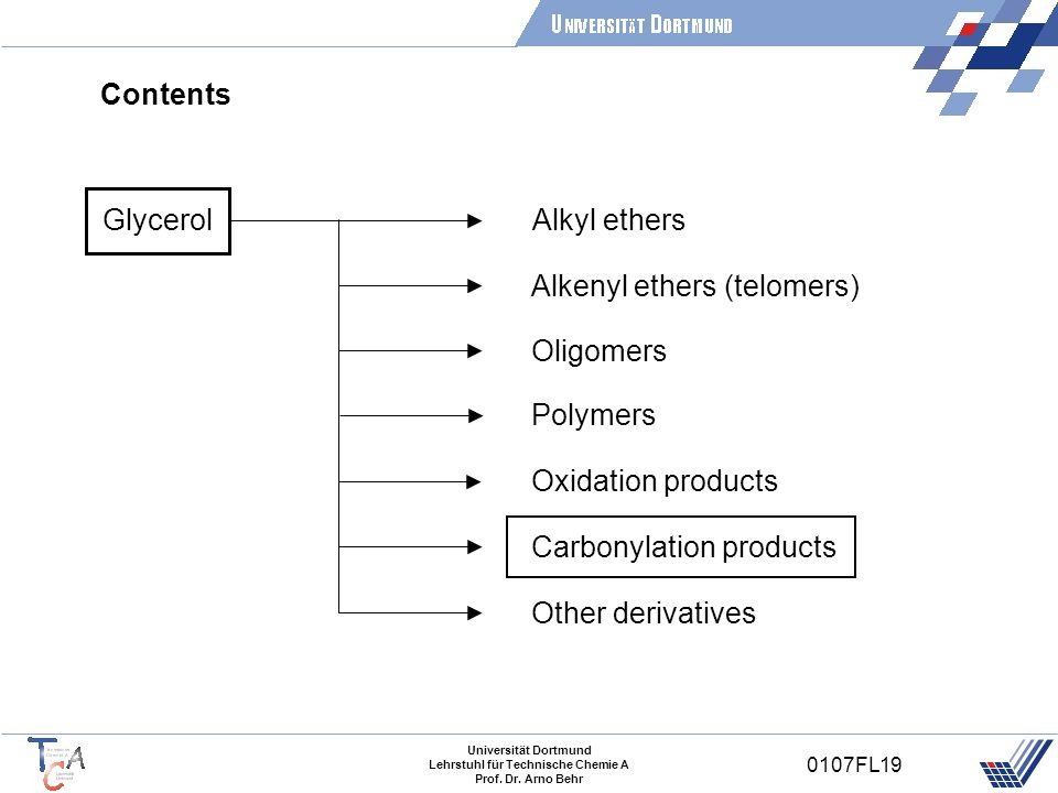 Contents Glycerol. Alkyl ethers. Alkenyl ethers (telomers) Oligomers. Polymers. Oxidation products.