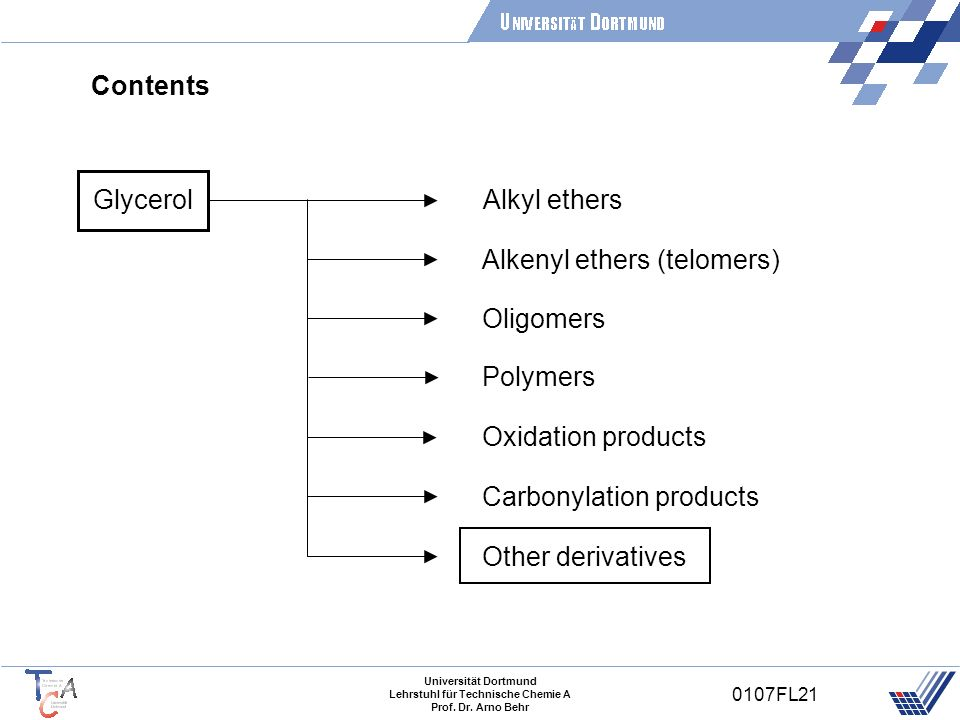 ContentsGlycerol. Alkyl ethers. Alkenyl ethers (telomers) Oligomers. Polymers. Oxidation products. Carbonylation products.