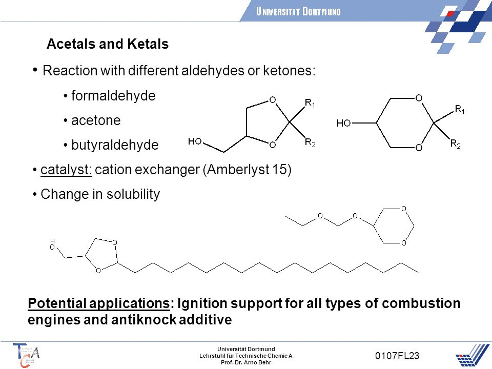 Reaction with different aldehydes or ketones: