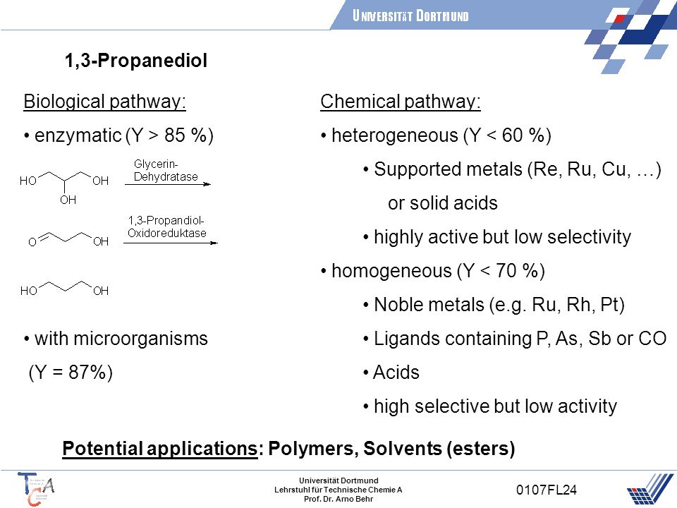 1,3-PropanediolBiological pathway: enzymatic (Y > 85 %) with microorganisms. (Y = 87%) Chemical pathway: