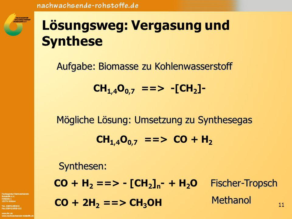 Lösungsweg: Vergasung und Synthese
