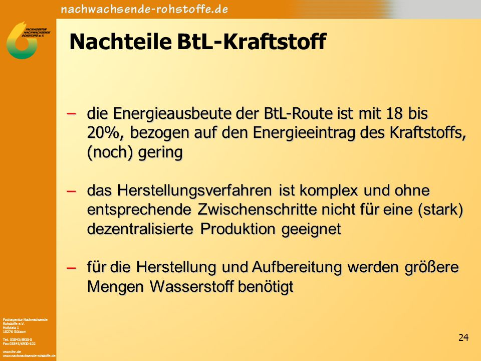 Nachteile BtL-Kraftstoff