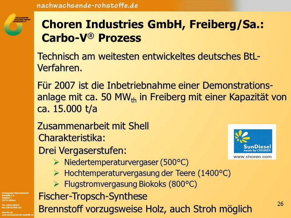 Choren Industries GmbH, Freiberg/Sa.: Carbo-V® Prozess