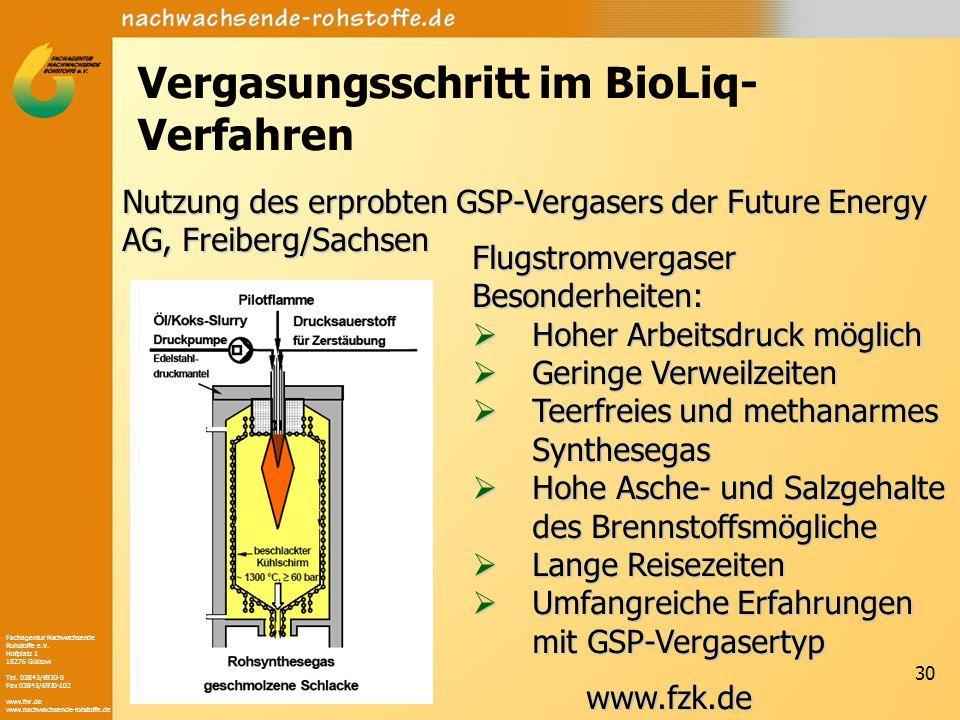 Vergasungsschritt im BioLiq-Verfahren