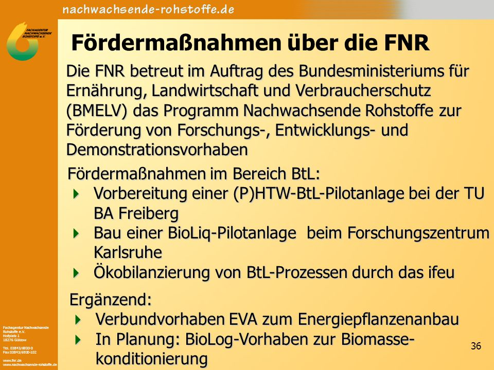 Fördermaßnahmen über die FNR