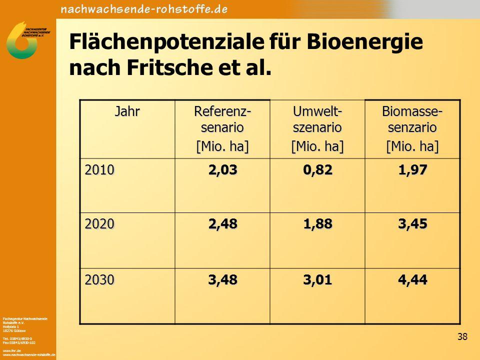 Flächenpotenziale für Bioenergie nach Fritsche et al.