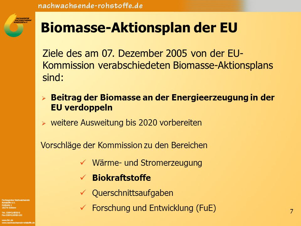 Biomasse-Aktionsplan der EU