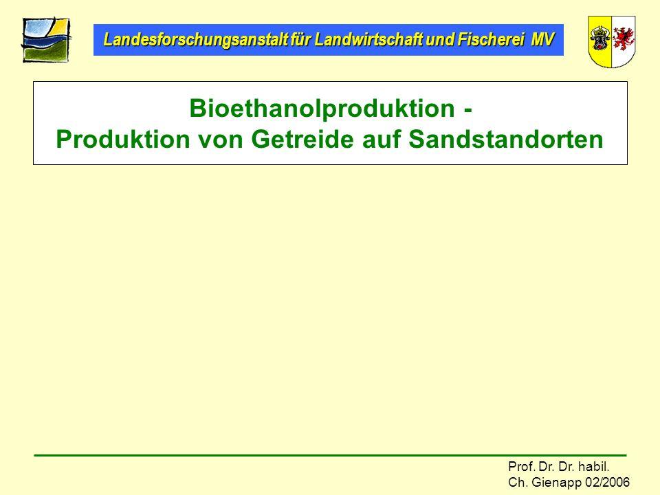 Bioethanolproduktion - Produktion von Getreide auf Sandstandorten