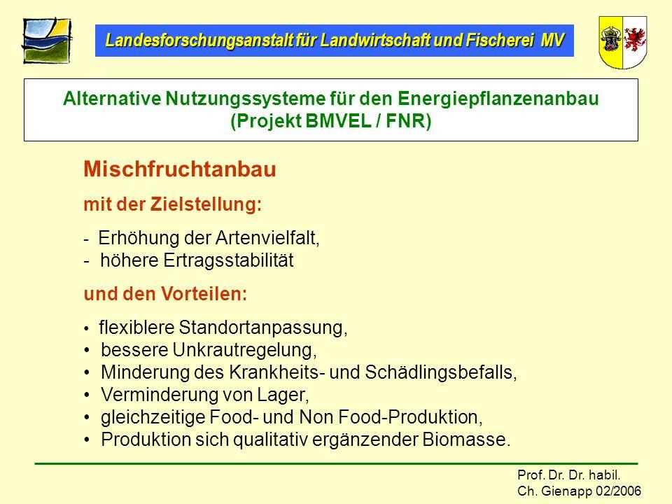 Alternative Nutzungssysteme für den Energiepflanzenanbau (Projekt BMVEL / FNR)