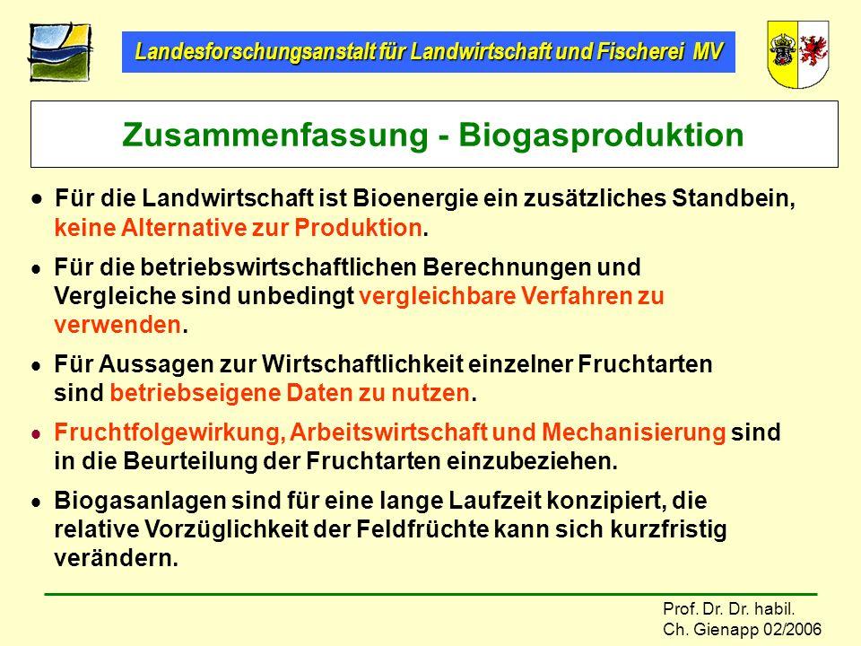 Zusammenfassung - Biogasproduktion