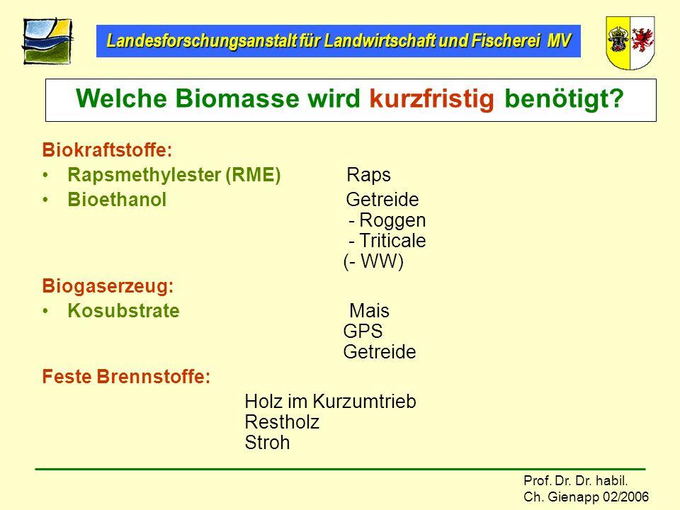 Welche Biomasse wird kurzfristig benötigt