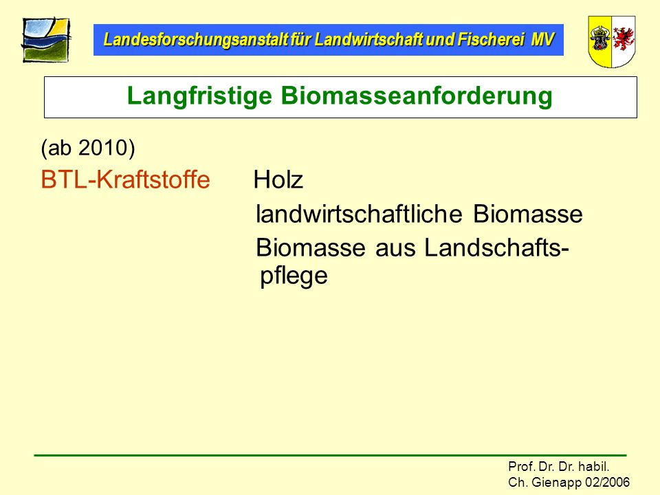 Langfristige Biomasseanforderung
