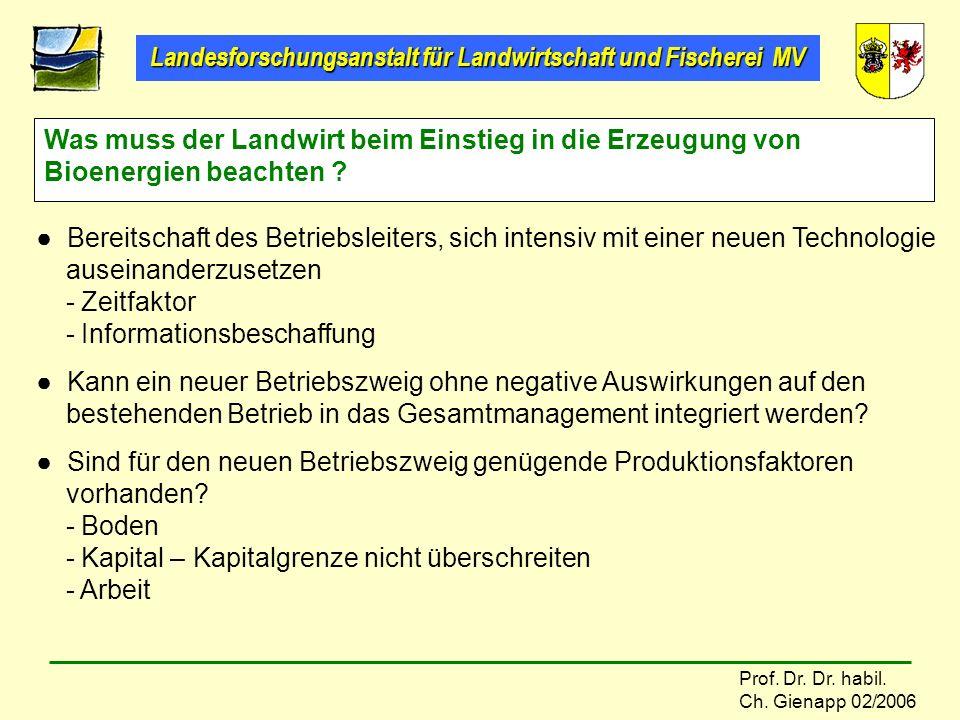 Was muss der Landwirt beim Einstieg in die Erzeugung von Bioenergien beachten
