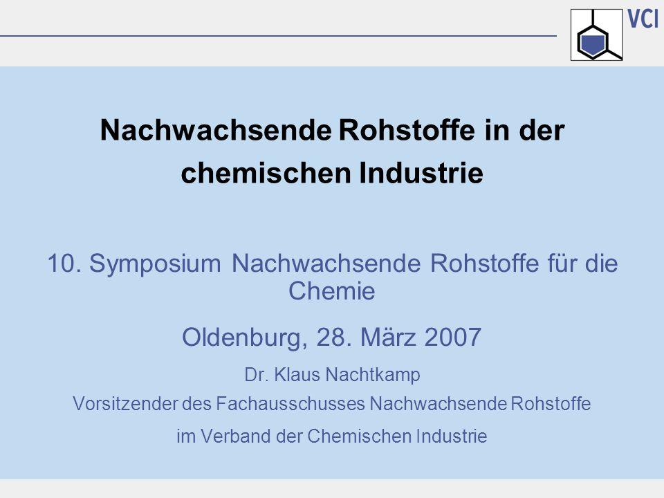 Nachwachsende Rohstoffe in der chemischen Industrie