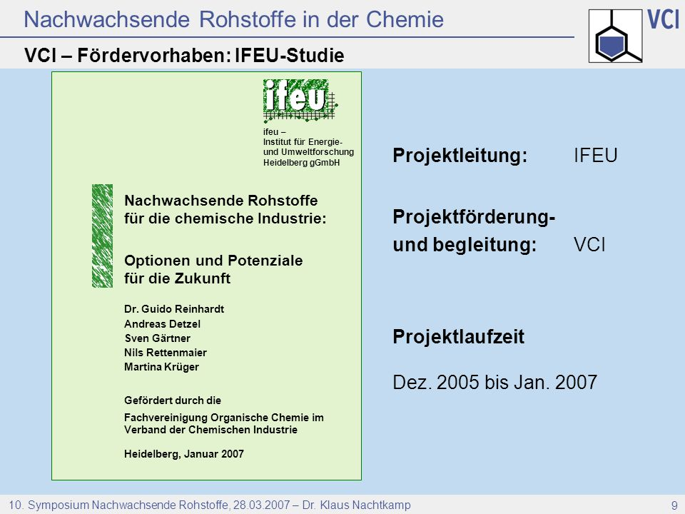 VCI – Fördervorhaben: IFEU-Studie