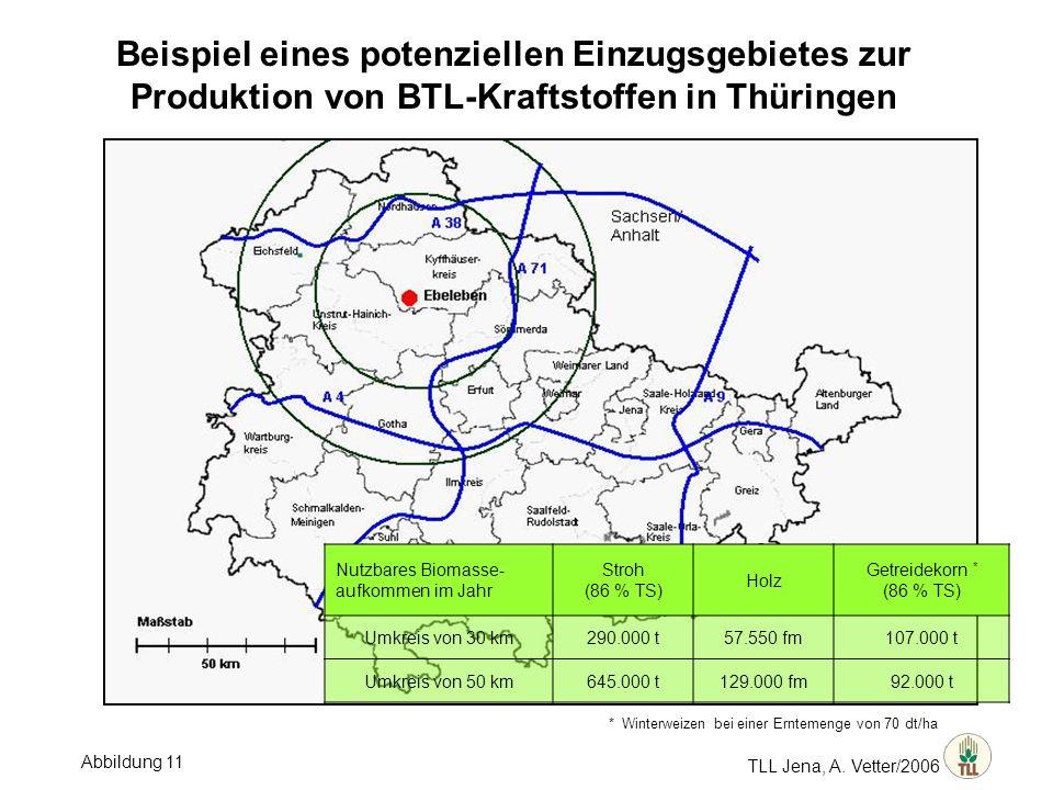 Beispiel eines potenziellen Einzugsgebietes zur Produktion von BTL-Kraftstoffen in Thüringen