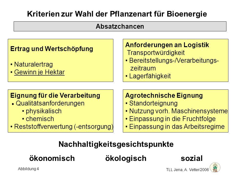 Kriterien zur Wahl der Pflanzenart für Bioenergie