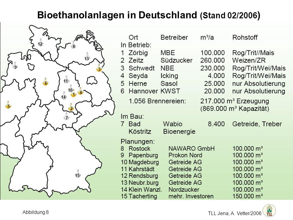 Bioethanolanlagen in Deutschland (Stand 02/2006)