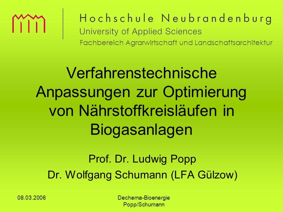 Prof. Dr. Ludwig Popp Dr. Wolfgang Schumann (LFA Gülzow)
