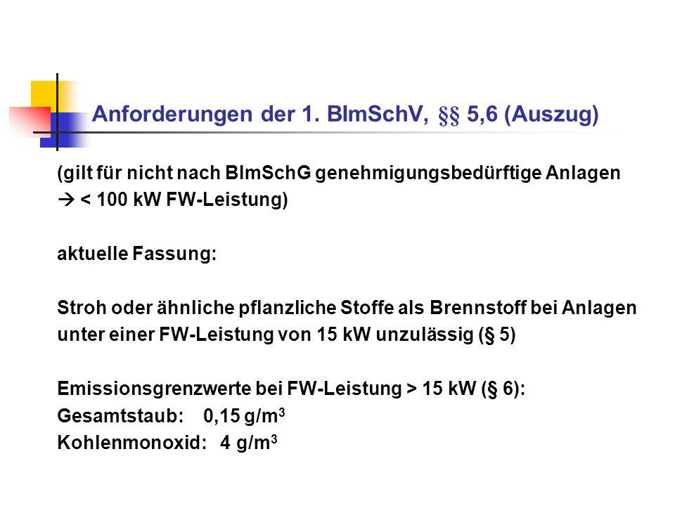 Anforderungen der 1. BImSchV, §§ 5,6 (Auszug)