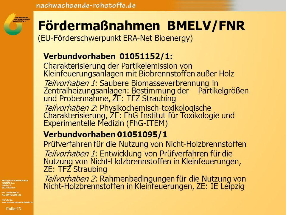 Fördermaßnahmen BMELV/FNR