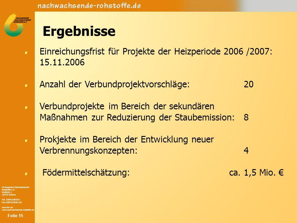 Ergebnisse Einreichungsfrist für Projekte der Heizperiode 2006 /2007: 15.11.2006. Anzahl der Verbundprojektvorschläge: 20.