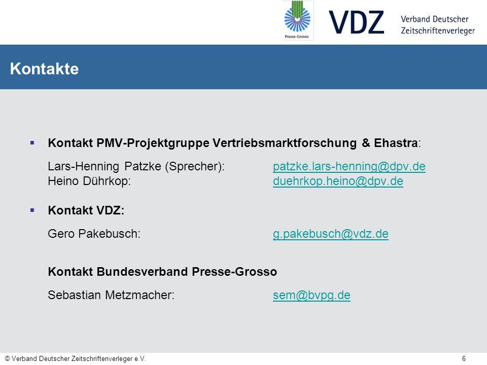 Kontakte Kontakt PMV-Projektgruppe Vertriebsmarktforschung & Ehastra: Lars-Henning Patzke (Sprecher): patzke.lars-henning@dpv.de.