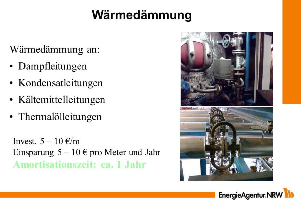 Wärmedämmung Wärmedämmung an: Dampfleitungen Kondensatleitungen