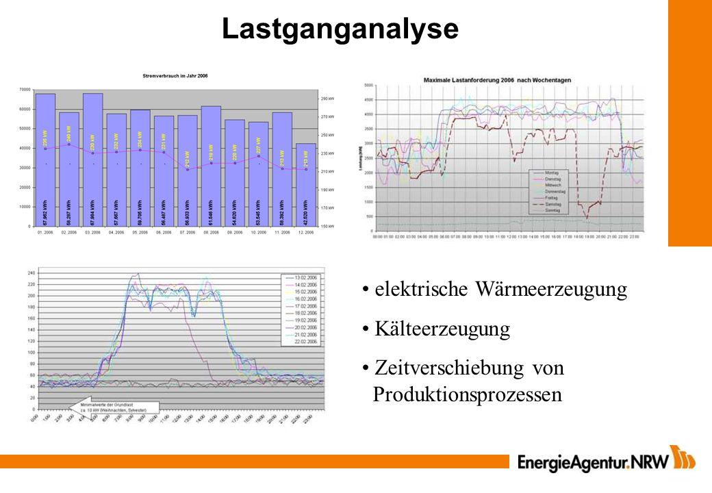 Lastganganalyse elektrische Wärmeerzeugung Kälteerzeugung