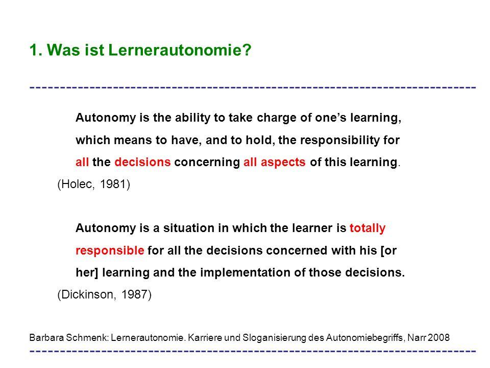 1. Was ist Lernerautonomie