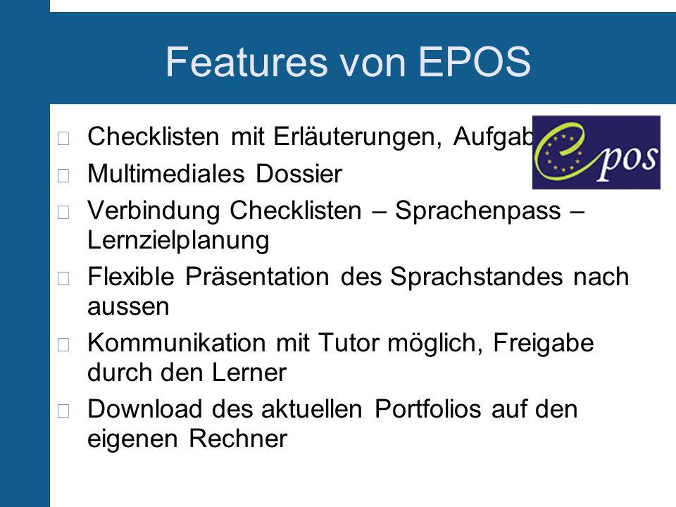 Features von EPOS Checklisten mit Erläuterungen, Aufgaben
