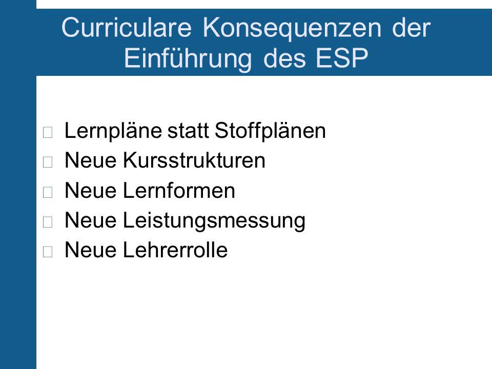 Curriculare Konsequenzen der Einführung des ESP