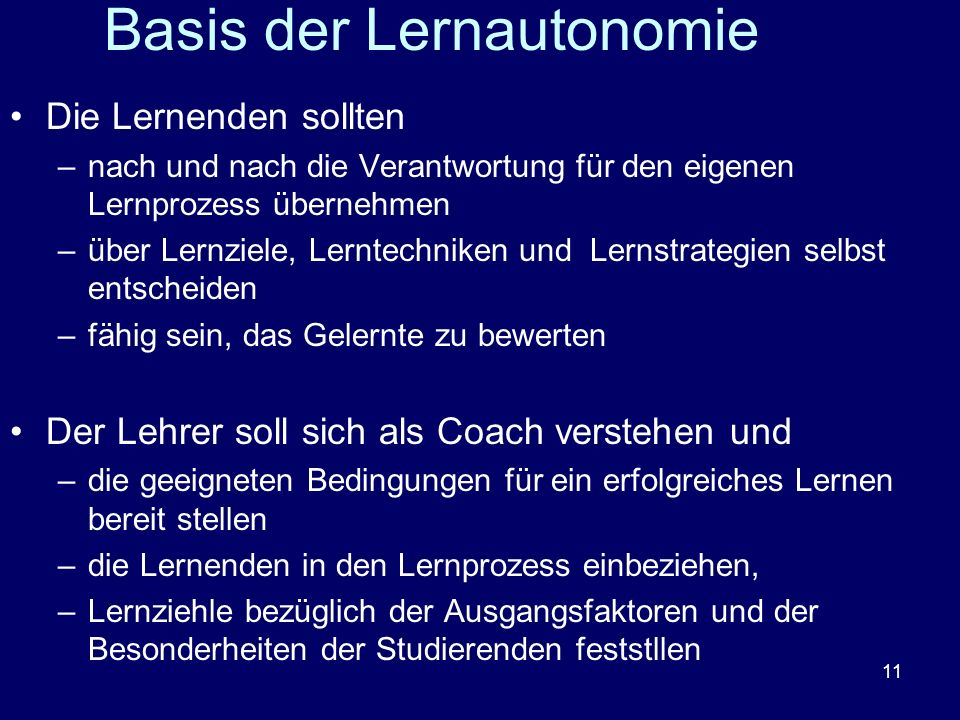 Basis der Lernautonomie