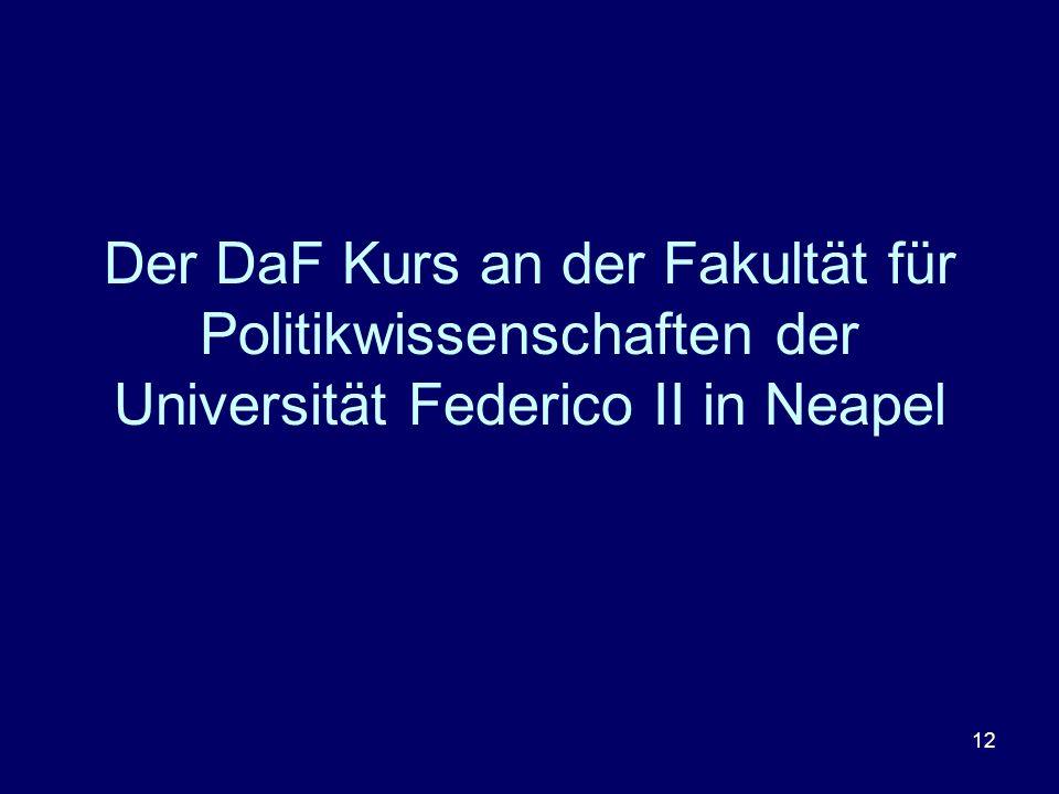 Der DaF Kurs an der Fakultät für Politikwissenschaften der Universität Federico II in Neapel