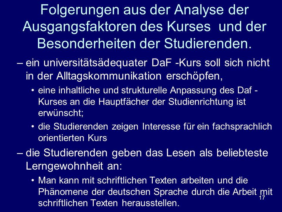 Folgerungen aus der Analyse der Ausgangsfaktoren des Kurses und der Besonderheiten der Studierenden.