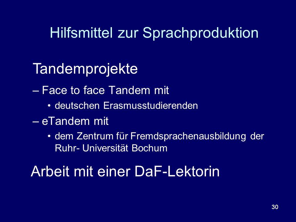 Hilfsmittel zur Sprachproduktion
