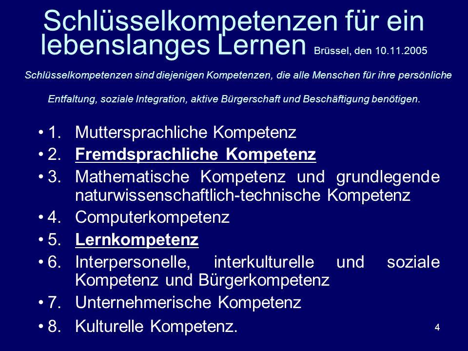 Schlüsselkompetenzen für ein lebenslanges Lernen Brüssel, den 10. 11