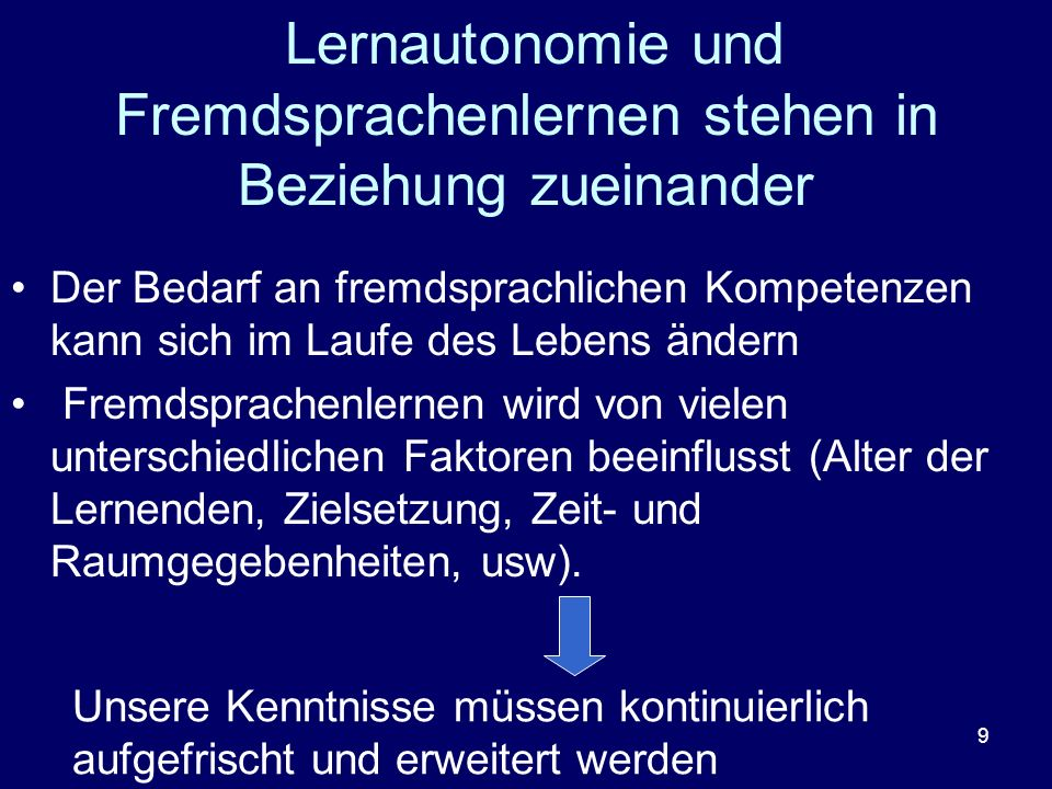 Lernautonomie und Fremdsprachenlernen stehen in Beziehung zueinander