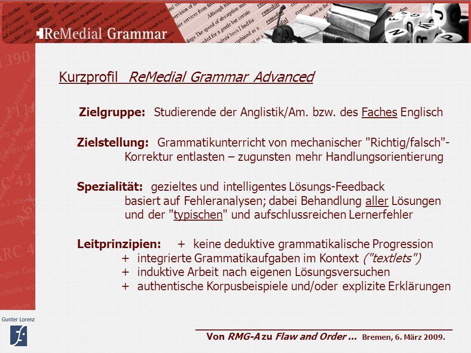 Kurzprofil ReMedial Grammar Advanced