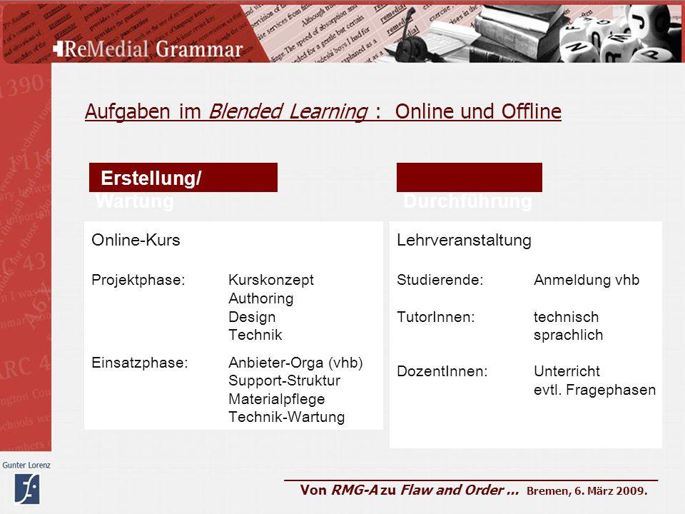 Aufgaben im Blended Learning : Online und Offline