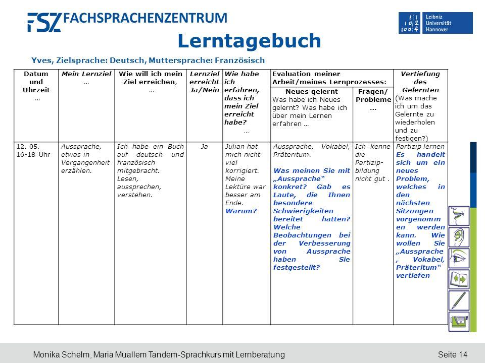 Lerntagebuch Yves, Zielsprache: Deutsch, Muttersprache: Französisch