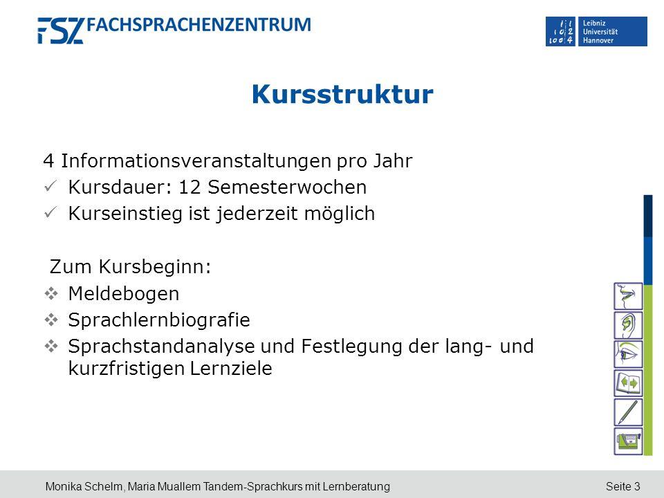 Kursstruktur 4 Informationsveranstaltungen pro Jahr