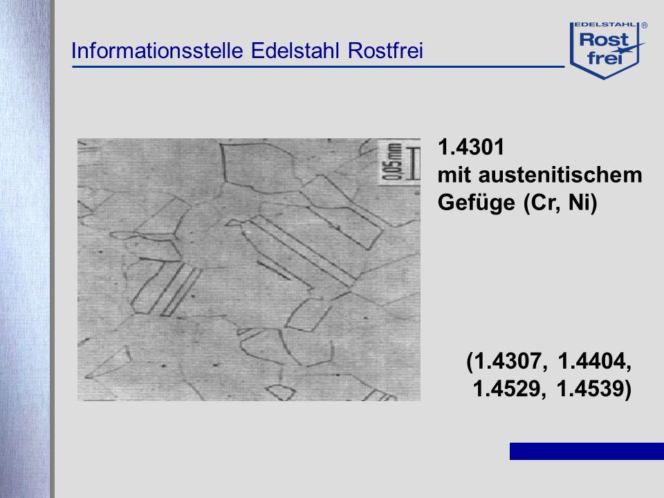 1.4301 mit austenitischem Gefüge (Cr, Ni) (1.4307, 1.4404,