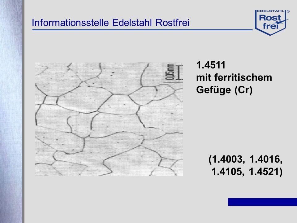 1.4511 mit ferritischem Gefüge (Cr) (1.4003, 1.4016, 1.4105, 1.4521)