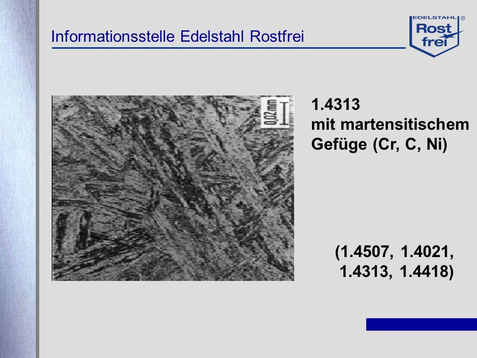 1.4313 mit martensitischem Gefüge (Cr, C, Ni) (1.4507, 1.4021,