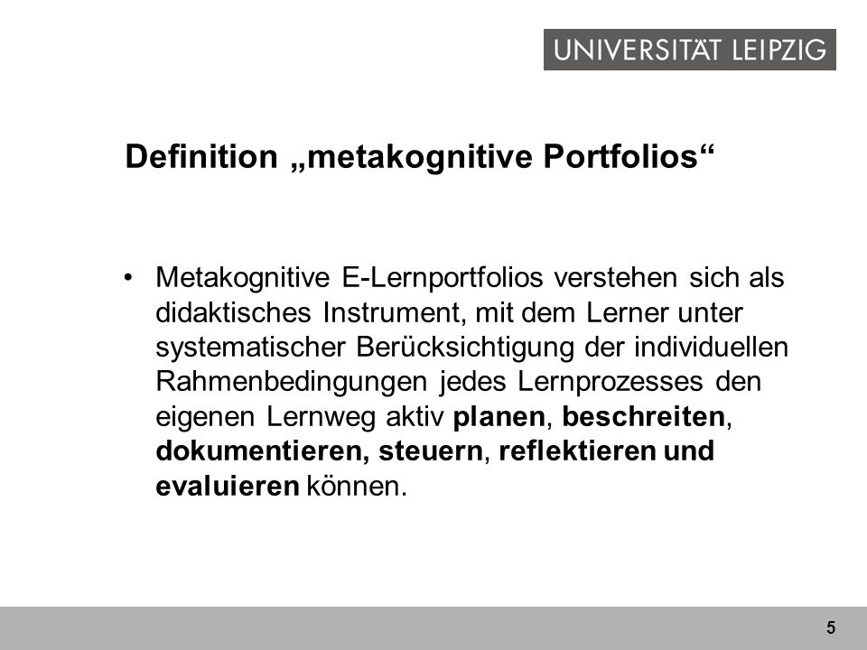 "Definition ""metakognitive Portfolios"