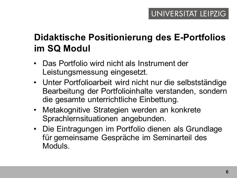 Didaktische Positionierung des E-Portfolios im SQ Modul